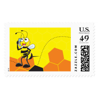 Cute Yellow Bee Holding a Mobile Phone Talking Stamps
