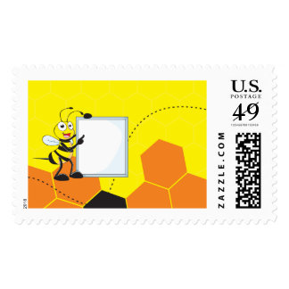 Cute Yellow Bee Holding Board Pointing Stamps