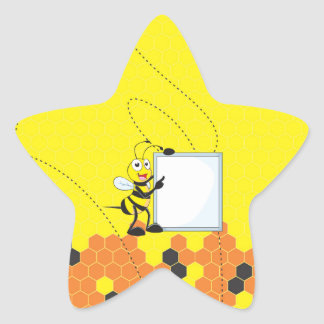 Cute Yellow Bee Holding Board Pointing Star Sticker