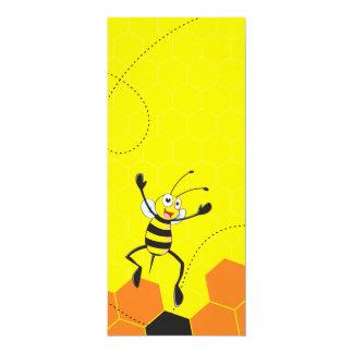 """Cute Yellow Bee Jumping Hurray Hoorah 4"""" X 9.25"""" Invitation Card"""