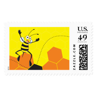 Cute Yellow Bee Jumping Hurray Hoorah Stamps