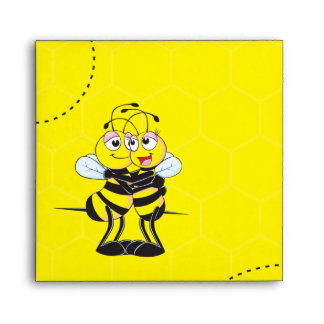 Cute Yellow Bee Lovers Hugging Couple Envelopes