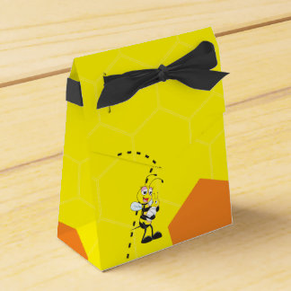 Cute Yellow Bee Mother Holding Baby Favor Box