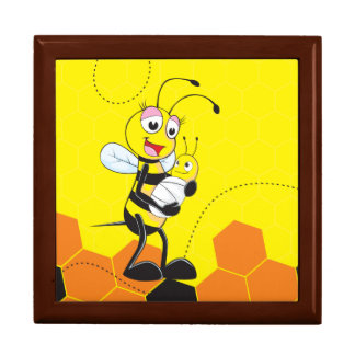 Cute Yellow Bee Mother Holding Baby Jewelry Boxes