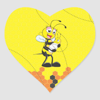 Cute Yellow Bee Mother Holding Baby Heart Sticker