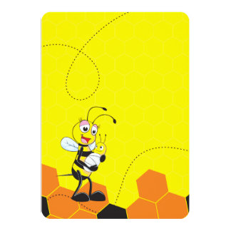 Cute Yellow Bee Mother Holding Baby Cards