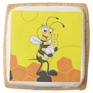 Cute Yellow Bee Mother Holding Baby Square Premium Shortbread Cookie