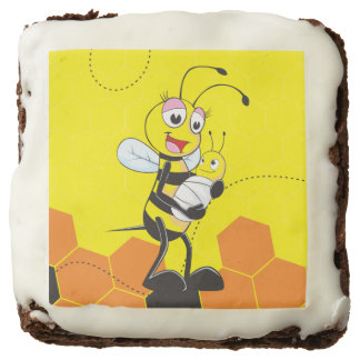 Cute Yellow Bee Mother Holding Baby Square Brownie