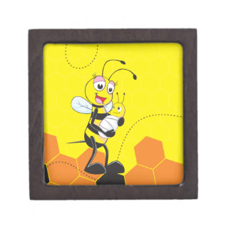 Cute Yellow Bee Mother Holding Baby Premium Trinket Boxes