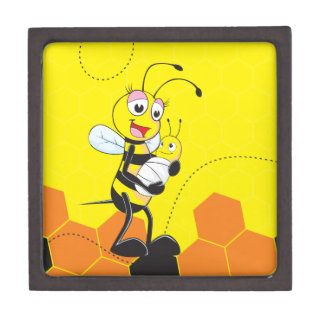 Cute Yellow Bee Mother Holding Baby Premium Jewelry Box