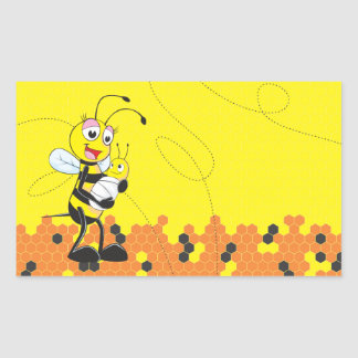 Cute Yellow Bee Mother Holding Baby Rectangular Sticker