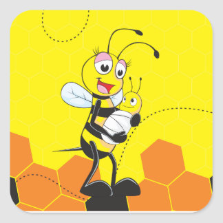 Cute Yellow Bee Mother Holding Baby Square Sticker
