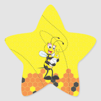 Cute Yellow Bee Mother Holding Baby Star Sticker