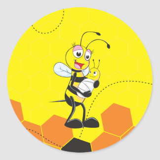 Cute Yellow Bee Mother Holding Baby Round Stickers