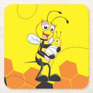Cute Yellow Bee Mother Holding Baby Square Paper Coaster