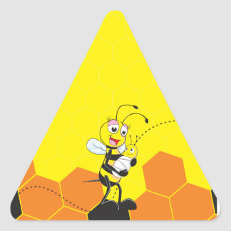 Cute Yellow Bee Mother Holding Baby Triangle Sticker