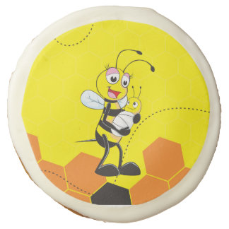 Cute Yellow Bee Mother Holding Baby Sugar Cookie