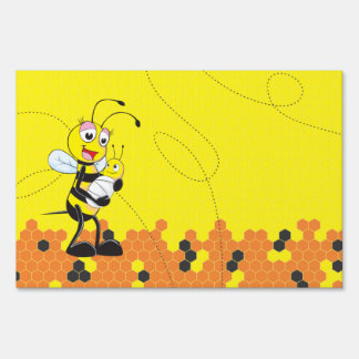 Cute Yellow Bee Mother Holding Baby Lawn Signs