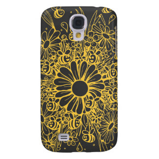 Cute yellow bees and flowers design samsung s4 case