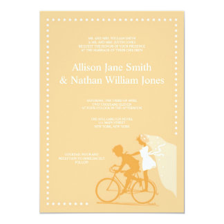 CUTE Yellow Bicycle Couple Wedding Invitation