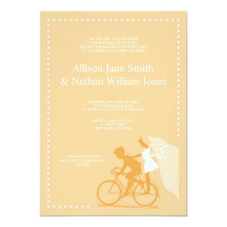 "CUTE Yellow Bicycle Couple Wedding Invitation 5"" X 7"" Invitation Card"