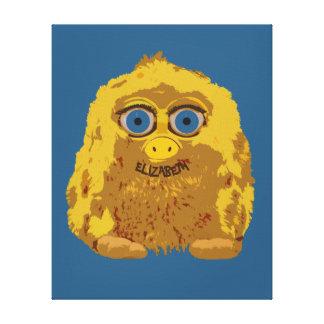 Cute Yellow Bigfoot With Big Blue Eyes Canvas Print