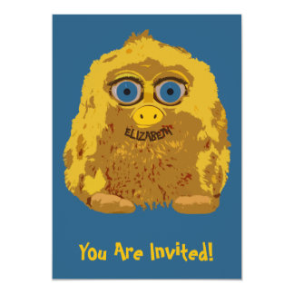 Cute Yellow Bigfoot With Big Blue Eyes Card