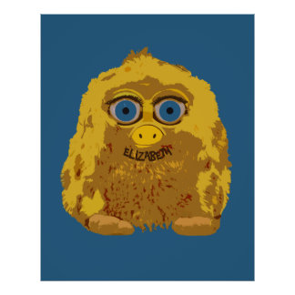 Cute Yellow Bigfoot With Big Blue Eyes Poster