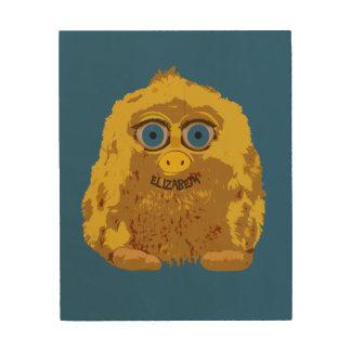 Cute Yellow Bigfoot With Big Blue Eyes Wood Wall Decor