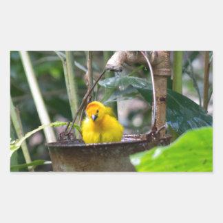 Cute, yellow bird bathing in a bucket rectangular sticker