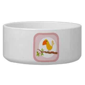 Cute Yellow Bird Dog Food Bowl
