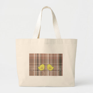 Cute Yellow Birds against plaid background Jumbo Tote Bag