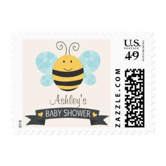 Cute Yellow & Black Bee Baby Shower Stamp