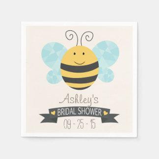 Cute Yellow & Black Bee Bridal Shower Paper Napkin