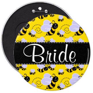 Cute Yellow & Black Bee Pinback Button