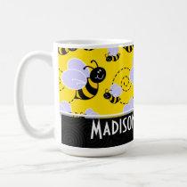 Cute Yellow & Black Bee Coffee Mug