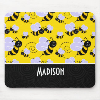 Cute Yellow & Black Bee Mouse Pad