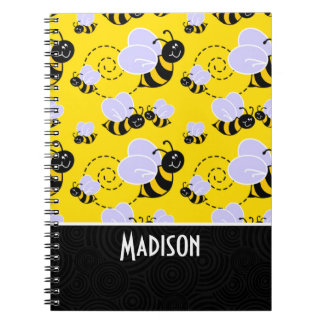 Cute Yellow & Black Bee Notebook