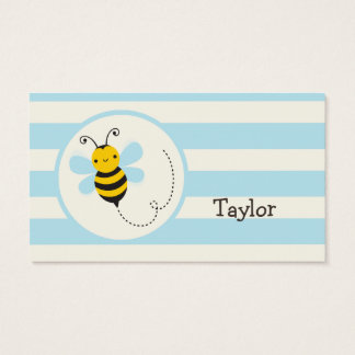 Cute Yellow & Black Bee on Baby Blue Stripes Business Card