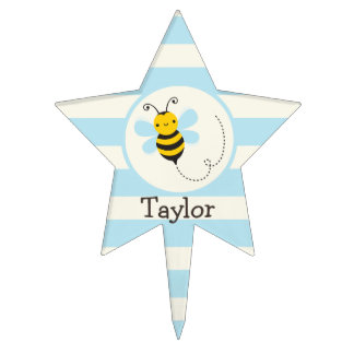 Cute Yellow & Black Bee on Baby Blue Stripes Cake Toppers