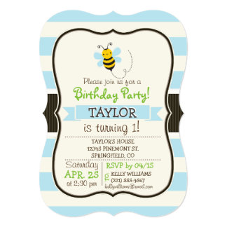 Cute Yellow & Black Bee on Baby Blue Stripes 5x7 Paper Invitation Card