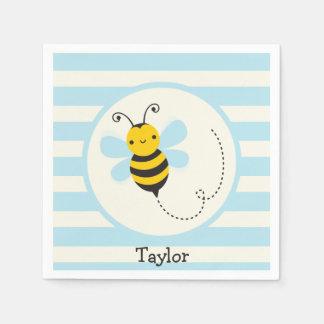 Cute Yellow & Black Bee on Baby Blue Stripes Napkin