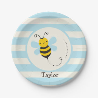 Cute Yellow & Black Bee on Baby Blue Stripes Paper Plate
