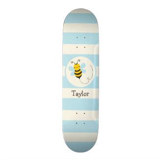 Cute Yellow & Black Bee on Baby Blue Stripes Skate Board Decks