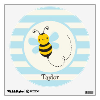 Cute Yellow & Black Bee on Baby Blue Stripes Wall Graphic