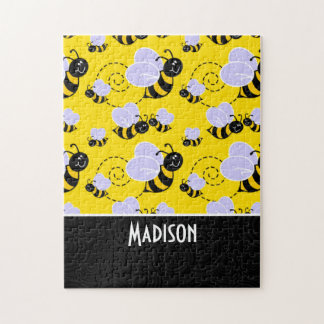 Cute Yellow & Black Bee Jigsaw Puzzles