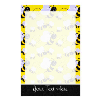 Cute Yellow & Black Bee Stationery