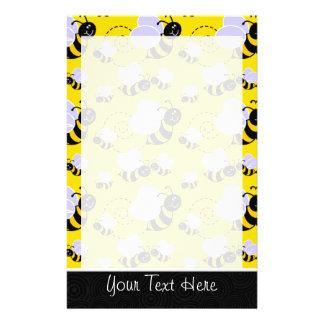 Cute Yellow Black Bee Stationery Design
