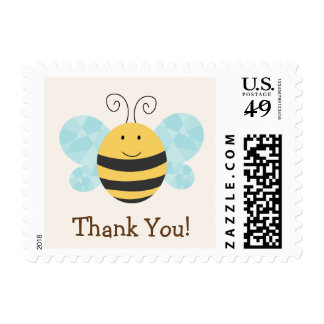 Cute Yellow & Black Bee Thank You Postage