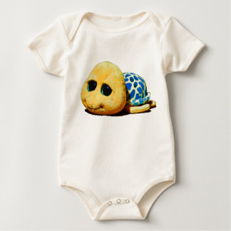 Cute Yellow Blue Stuffed Turtle Toy Drawing Baby Bodysuit
